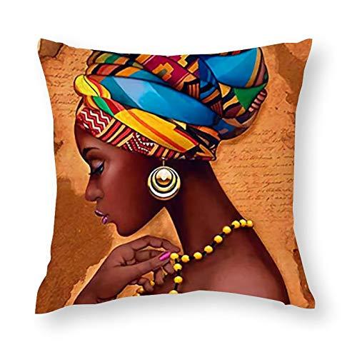 Tribal Black Woman African American Girl Ethnic Old Orange Silhouette (3) Stilvolle, weiche Mikrofaser, dekorativer Kissenbezug, stilvoller Taillenkissen, 45 x 45 cm