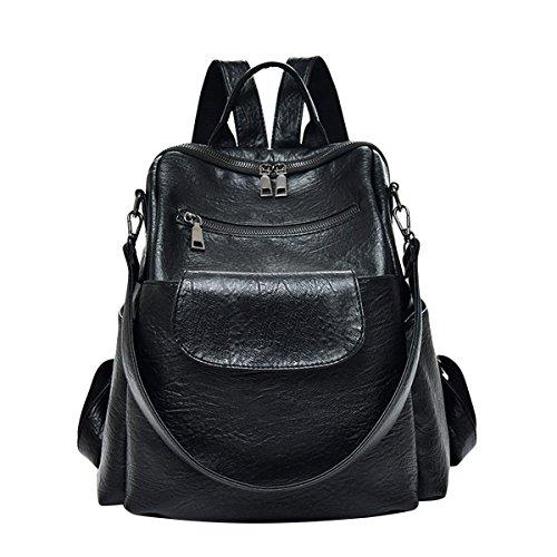 ABage Women Backpack Purse Waterproof Leather Casual Ladies Rucksack Shoulder Bag, Brown1