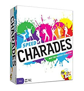 CHARADES GAME | A fun twist on a family favorite. Players compete head-to-head in a race to act out words for their teams to guess. Starting at the same time, the first team to guess 4 of the 5 words on their card wins the round and scores a point. T...