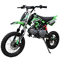 """Moto Pro brings 125cc Gas Dirt Pit Bike. Semi-auto Clutch is the perfect choice for riders stepping into the 125 class. 14"""" front and 12"""" knobby rear wheels get ready for great traction on a variety of tracks and terrain. Front and Rear Hydraulic Dis..."""
