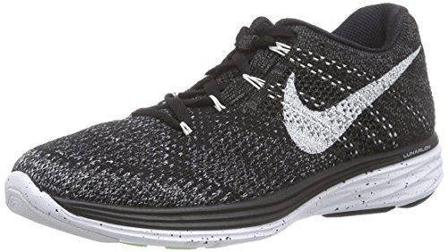 Nike Womens Flyknit Lunar3 Black/White/Mdnght Fog/Wlf Gry Running Shoe 8 Women US