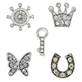 PEPPERLONELY Brand 10PC Silver Tone Helm Crown Key Butterfly Horseshoe Rhinestone Floating Charms