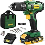 Cordless Drill, 20V MAX 1/2 inch Compact Drill Driver Kit, 2.0Ah Lithium-Ion Battery with Fast Charger, Metal Chuck, 398 In-lbs Torque, 18+1 Position Clutch, 17pcs Drill/Driver Bits - BHD750D