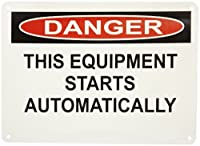"Master Lock S19251 14"" Width x 10"" Height Polypropylene, Black and Red on White Safety Sign, Header ""Danger"", Legend ""This Equipment Starts Automatically"""