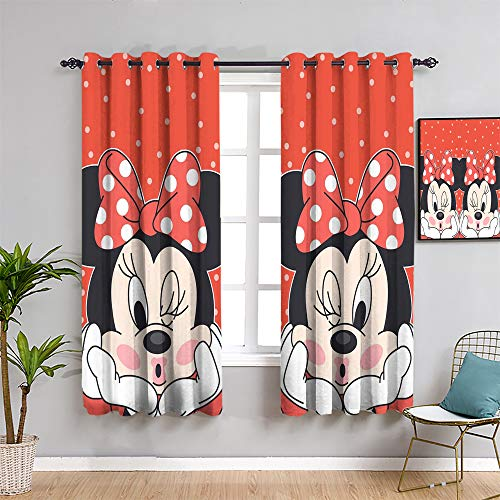 Mick-ey Mou-se Printed Living Room Decor Blackout Shades, Curtains 72 inch length Mickey Minnie Mouse As a gift for children Easy to clean W72 x L72 Inch