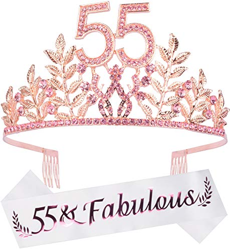 55th Birthday Gifts for Women, 55th Birthday Tiara and Sash, 55 Fabulous Sash and Crystal Tiara, 55th Birthday Decorations for Women, 55th Birthday Party Supplies, Happy 55th Birthday