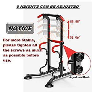 JEMPET Dip Stand Power Tower-Pull Up Home Gym Height Adjustable Multi-Function Fitness Strength Training Equipment Exercise Workout Station