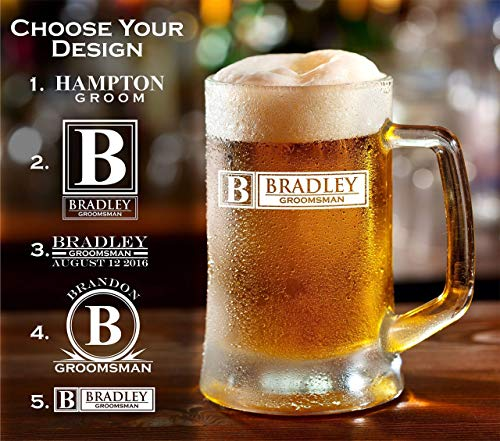 Personalized Engraved 16 Ounce Glass Beer Mug (Sold Individually)