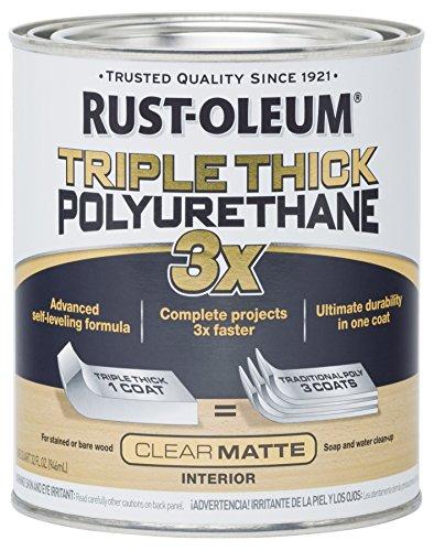 Rust-Oleum 302736 Triple Thick Polyurethane, Matte, 32 oz, Clear