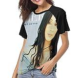 LANDONL Cher Dancing Believe Womens Short Sleeve Raglan Baseball T-Shirt Black M