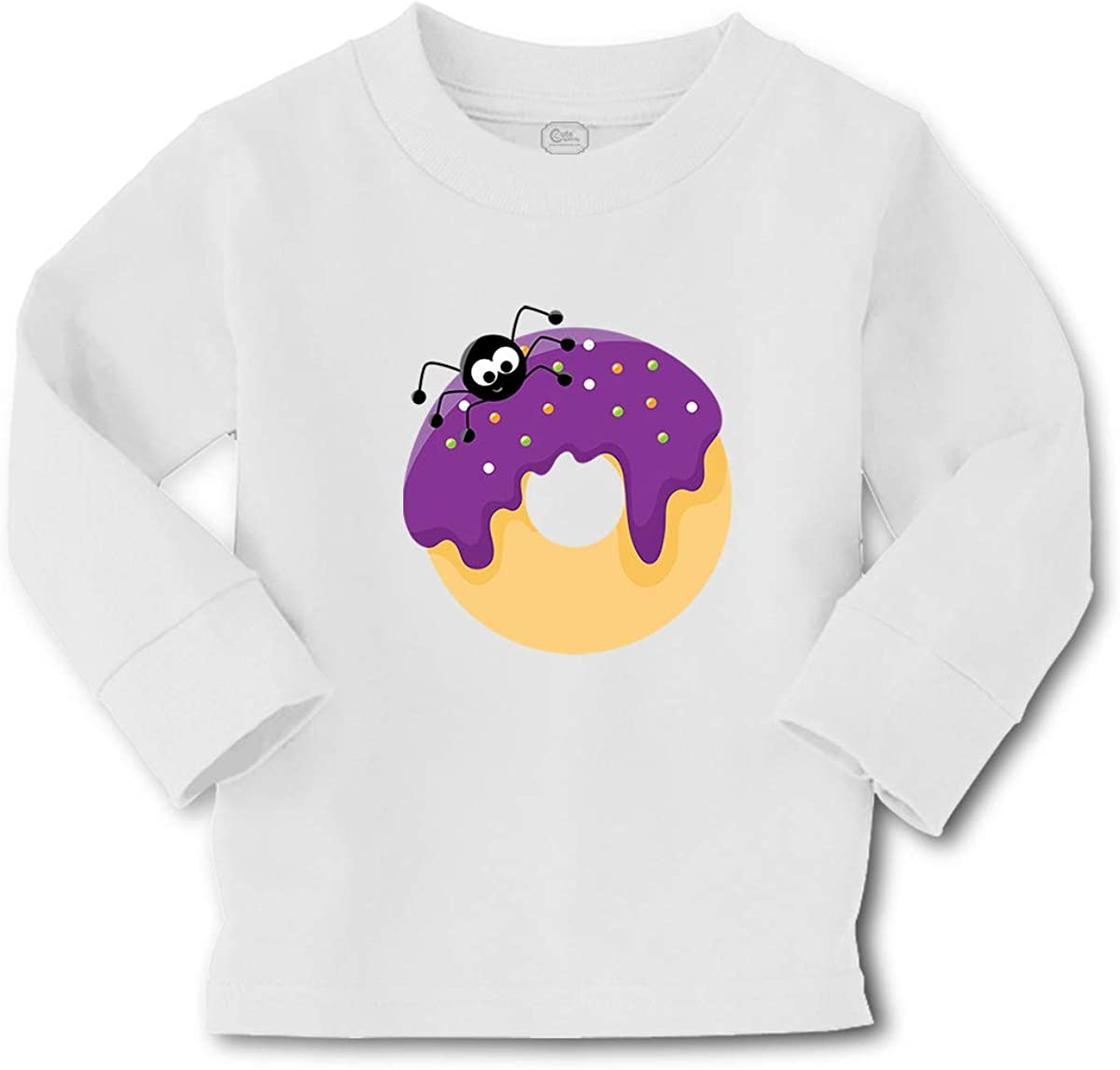 Kids Long Sleeve T Shirt Purple Spider Donuts Cotton Boy & Girl Clothes