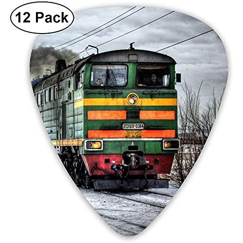 Winter Train Gitaar Pick Set gitaar bas-mandoline ukelele 0,46 mm 0,71 mm 0,96 mm pak van 12 plectrums met plectrumhouder
