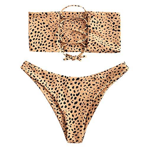 ZAFUL Women's Bathing Suit Adjustable Back Lace-up Bandeau Bikini Set (L, Bee Yellow-A)