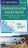 KOMPASS Wanderkarte Dalmatinische Küste Nord: 2in1 Wanderkarte 1:100000 mit Aktiv Guide. (KOMPASS-Wanderkarten, Band 2901)