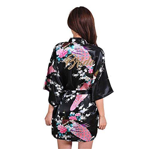 ZSDGY Seide dünne Tunika/wunderschöne Kleid/Pfau Pfingstrose Pyjamas/Kurze Strickjacke Robe Exquisite Nachthemd H-M