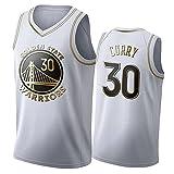 Stephen Curry Camiseta De Baloncesto para Hombre,Golden State Warriors #30 BordadaTranspirable De Malla Stephen Curry Basketball Jersey Platinum-L