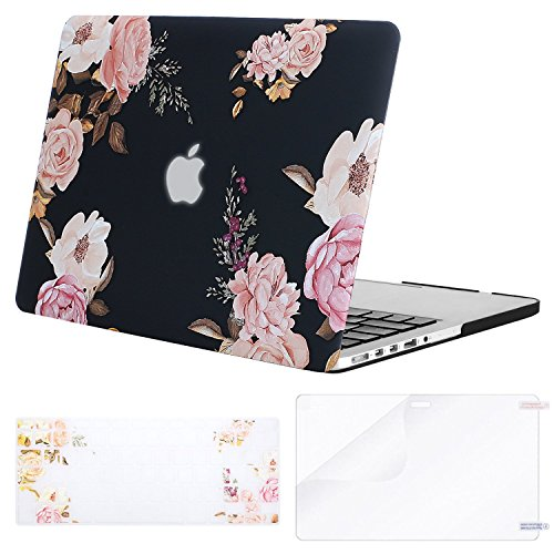 MOSISO Plastic Pattern Hard Shell Case&Keyboard Cover&Screen Protector Only Compatible with Older Version MacBook Pro Retina 13 inch (Model: A1502 & A1425)(Release 2015-end 2012), Pink Peony