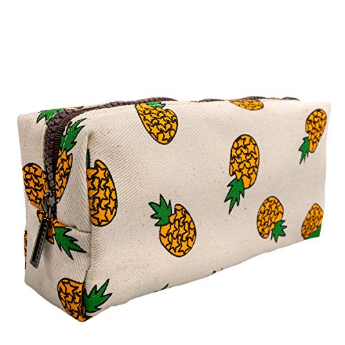 LParkin Cute Pineapple Teen Large Capacity Canvas Pencil Case for Girls Pen Bag Box Gadget Pouch Stationary Case Makeup Cosmetic Bag