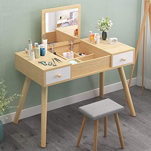 DD&QG Juego de mesa de tocador 2 en 1 con taburete acolchado, tocador de maquillaje con espejo superior, escritorio multifunción de fácil montaje, 2 cajones naturales de 100 x 45 x 112 cm
