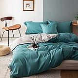Wajade Juego de ropa de cama reversible 135 x 200 cm, color turquesa y gris, ropa de...