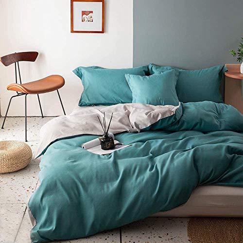 Wajade Ropa de cama de 200 x 220 cm, 3 piezas, color turquesa y gris, reversible, juego de ropa de cama de microfibra Renforce, funda nórdica con cremallera y 2 fundas de almohada de 80 x 80 cm