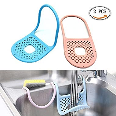 IDS 2pcs Kitchen Sink Bathroom Hanging Strainer Storage Holder Bag Sponge Towel Draining Rack Cleaning Brush Toothbrush Holder Sponge Holder Sink Caddy Soap Holder for Kitchen Organization, Blue, Pink