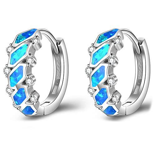 Blau Opal Ohrringe Kleine Creolen Silber 925 Damen Opal Schmuck Ohrringe Creolen Geschenk für Frauen Damen