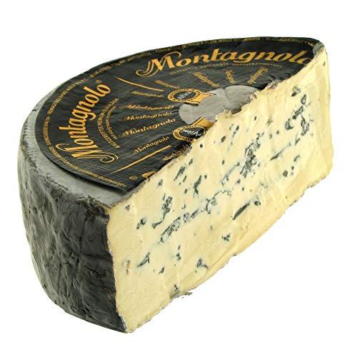 Queso Azul Cremoso Montagnolo - Hecho a partir de leche de vaca pasteurizada y se elabora a partir de una receta tradicional - Medio Queso 1.100 gramos Peso Aproximado