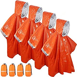 DIBBATU Emergency Survival Poncho Heat Reflective Blanket...