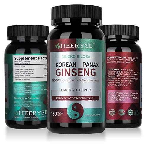 HEEYRSE Korean Red Panax Ginseng + Ginkgo Biloba per Serving 1500mg (90 Days Supply) - Performance Energy and Focus Pills for Men and Women & Supports Brain Function and Mental Alertness