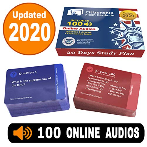 US Citizenship test Civics Flash Cards for the Naturalization Exam 2020 | Includes Online Audios with all official 100 USCIS Questions and Answers | USCIS N-400. Get ready for the Immigration Test in only 20 days.