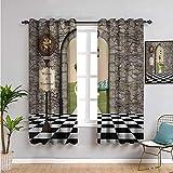 Pcglvie Cortina de ventana negra con 2 paneles, cortinas de 114 cm de largo, diseño de País de las Maravillas en blanco y negro