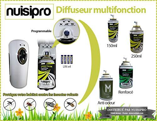 NUISIPRO Diffuseur Naturel Anti Mouches, moustiques, moucherons avec 3 recharges pyrèthre Naturel 250ml