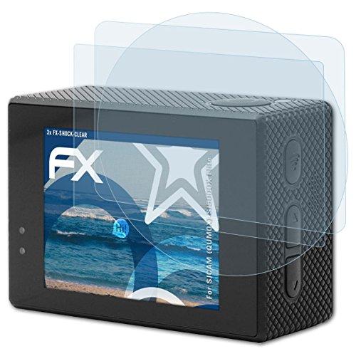 atFoliX Antichoque Película Protectora Compatible con SJCAM (QUMOX) SJ5000X Elite Protector Película, Ultra Clara y Que Absorbe los Golpes FX Película Protectora (Set de 3)