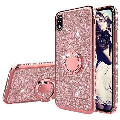 Misstars Glitzer Hülle für Huawei Y5 2019 Rose Gold, Bling Strass Diamant Weiche TPU Silikon Handyhülle Anti-Rutsch Kratzfest Schutzhülle mit 360 Grad Ring Ständer für Huawei Honor 8S / Y5 2019