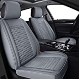 LUCKYMAN CLUB 04-FangGe Auto Seat Covers Fit for Sonata Elantra Santa Fe Sport with Breathable Faux Leather (Gray Full Set)