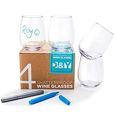 Shatterproof Stemless Wine Glass, Unbreakable Tritan 16 Oz Elegant Smooth Rim for Comfort Heavy Base for Stability. Free Gift 2 Glass Marker Pens. Food Safe, BPA-Free. Gift Pack of 4. Dishwasher Safe