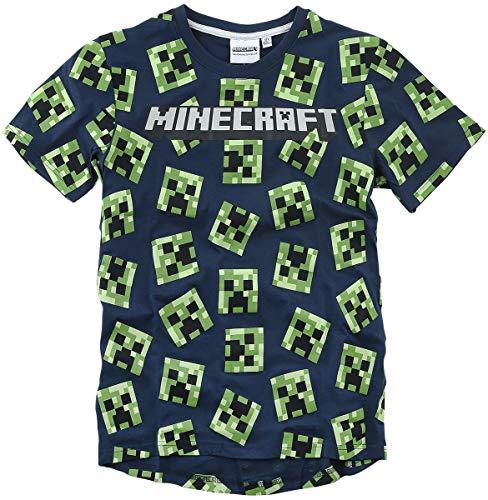 Minecraft Global Brands Group Camiseta T-Shirt Azul BLU Navy 100 Caras Creeper...