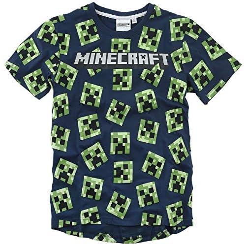 Global Brands Group T-Shirt Minecraft Originale Creeper Cento Facce Blu Navy Maglia Maglietta Videogioco Videogames Tutte Le Taglie (12 Anni)