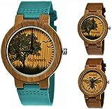 Holzwerk Germany® - Reloj de Pulsera para Mujer con diseño ecológico, Madera Natural, Correa de Piel, Reloj analógico de Cuarzo, diseño de Abejas, Color marrón, Azul y Turquesa