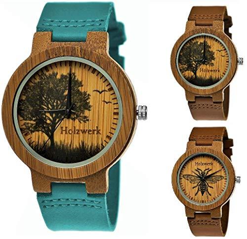 Handgefertigte Holzwerk Germany® Designer Damen-Uhr Herren-Uhr Öko Natur Holz-Uhr Leder Armband-Uhr Analog Quarz-Uhr Braun Blau Türkis Baum Biene Natur Motiv Limitiert (Holzwerk-Türkis-Blau-)