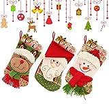 MMTX Juego de 3 Calcetines de Navidad Regalode Decoración Bordado de Santa Claus Muñeco Nieve Mini Botas Bolsillo Calcetín de Tartán de Felpa Roja para Año de Dulces Presenta la Colgante del árbol