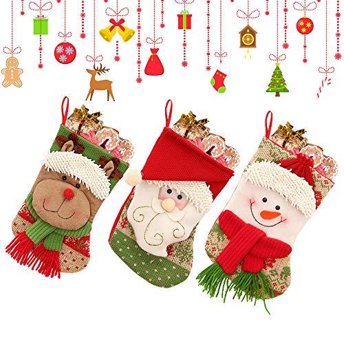MMTX 3 Stück Filz-Nikolausstiefel zum Befüllen Weihnachtsmann, Schneemann, Rentier weihnachtsstrumpf Aufhängen