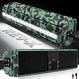 GoHawk RE9-X Gen.3 Waterproof Bluetooth Motorcycle Stereo Speakers Soundbar 7/8-1.25 in. Handlebar Mount MP3 Music Player Audio Amplifier System ATV 4-Wheelers, USB, AUX, FM Radio