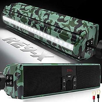 GoHawk RE9-X Gen.3 Waterproof Bluetooth Motorcycle Stereo Speakers Soundbar 7/8-1.25 in Handlebar Mount MP3 Music Player Audio Amplifier System ATV 4-Wheelers USB AUX FM Radio