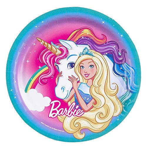 amscan 11012120 Barbie Dreamtopia - Platos de papel (23 cm, 8 unidades)