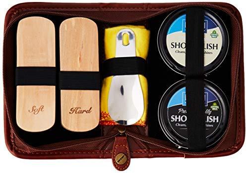 Shoe Shine Kit, Shoe polish Kit, Premium Quality Travel Brush Kit Horse Hair Brush Polish Black Brown Neutral Buff Quality Premium PU Leather Gift