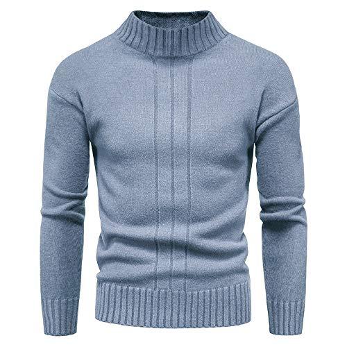 CELANDA Męski sweter z golfem, ciepły sweter z dzianiny, przytulny bawełniany sweter Basic fit
