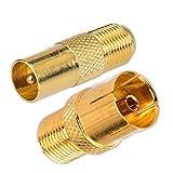 SAT Adapter Vergoldet (F-Kupplung auf Koax-Stecker und F-Kupplung auf Koax-Kupplung) 2er Set (Adapter, Set F-Kupplung - Koax)