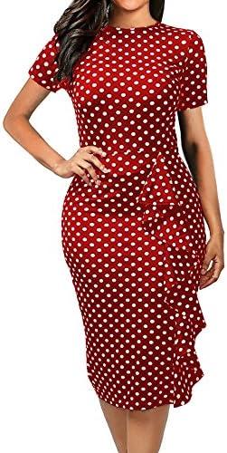 CISMARK Women s Chic Short Sleeve Polka Dot Falbala Fold Slim Pencil Dress Red X Large product image